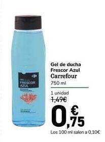 Oferta de Gel de ducha Frescor Azul Carrefour por 0,75€