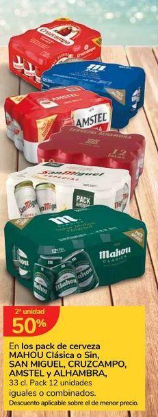 Oferta de En los pack de cerveza MAHOU Clásica o Sin SAN MIGUEL, CRUZCAMPO, AMSTEL y ALHAMBRA por