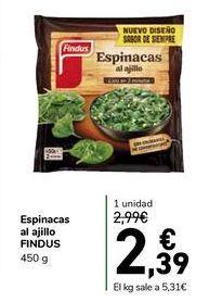 Oferta de Espinacas al ajillo FINDUS por 2,39€