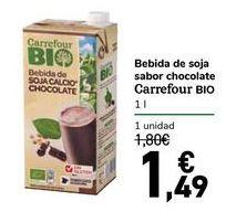 Oferta de Bebida de soja sabor chocolate Carrefour Bio por 1,49€