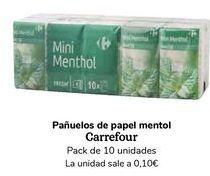 Oferta de Pañuelos de papel mentol Carrefour por
