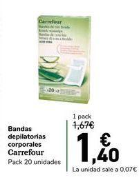 Oferta de Bandas depilatorias corporales Carrefour por 1,4€