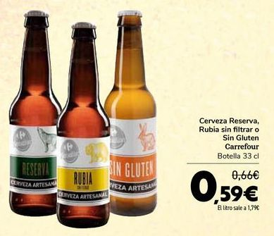 Oferta de Cerveza Reserva, Rubia sin filtrar o Sin Gluten Carrefour por 0,59€