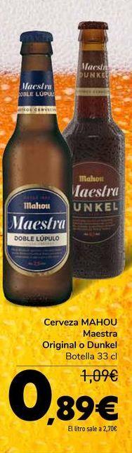 Oferta de Cerveza MAHOU Maestra original o Dunkel por 0,89€
