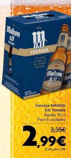 Oferta de Cerveza MAHOU 0,0 Tostada por 2,99€