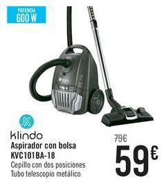 Oferta de Klindo Aspirador con bolsa KVC101BA-19  por 59€