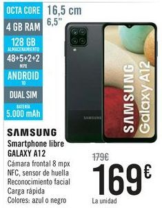 Oferta de SAMUNG Smartphone libre GALAXY A12  por 169€