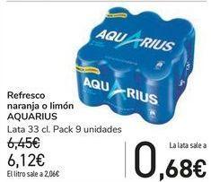 Oferta de Refresco naranja o limón AQUARIUS  por 6,12€