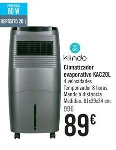 Oferta de Klindo Climatizador evaporativo KAC20L por 89€