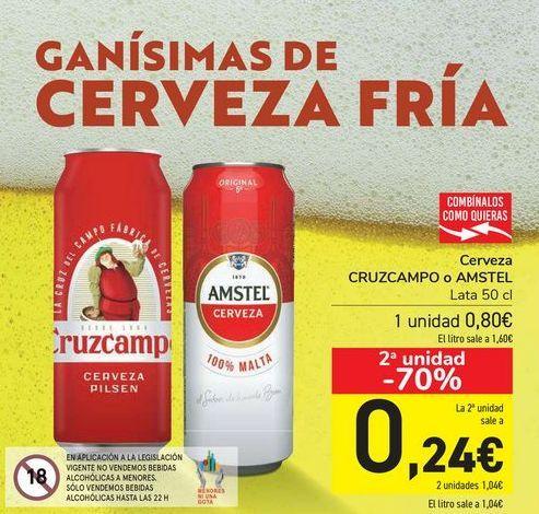 Oferta de Cerveza CRUZCAMPO o AMSTEL  por 0,8€