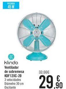 Oferta de Klindo Ventilador de sobremesa KDF12XC-20  por 29,9€