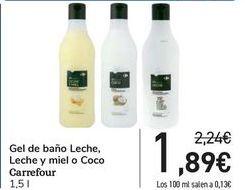 Oferta de Gel de baño Leche, Leche y miel o Coco Carrefour  por 1,89€