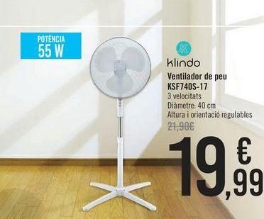 Oferta de Klindo Ventilador de pie KSF740S-17  por 19,99€
