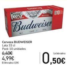 Oferta de Cerveza BUDWEISER  por 4,99€