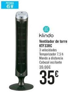 Oferta de Klindo Ventilador de torre KTF33RC por 35€