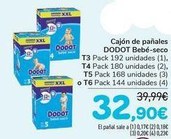 Oferta de Cajón de pañales DODOT Bebé -seco T3, T4, T5 o T6  por 32,9€