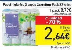 Oferta de Papel higiénico 3 capas Carrefour  por 8,79€