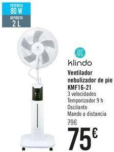 Oferta de Klindo Ventilador nebulizador de pie KMF16-21  por 75€