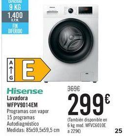 Oferta de Hisense Lavadora WFPV9014EM por 299€