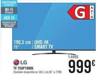 Oferta de LG TV 75UP78006  por 999€