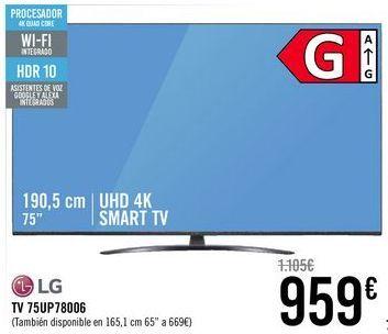 Oferta de LG TV 75UP78006  por 959€