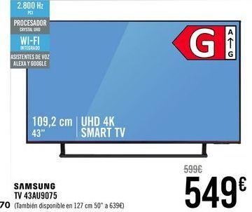 Oferta de SAMSUNG TV 43AU9075  por 549€