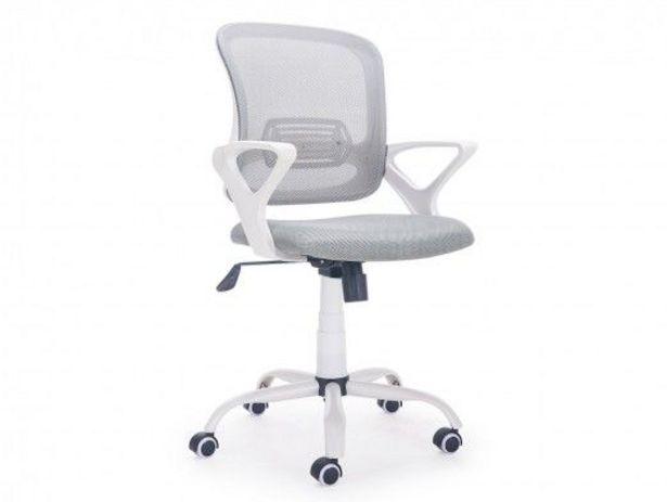 Oferta de Silla de oficina giratoria / elevable, con refuerzo lumbar y ruedas antirayas color blanco por 110€