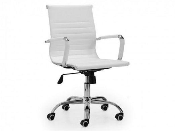Oferta de Sillón giratorio símil piel regulable en altura y mecanismo basculante color blanco por 132€