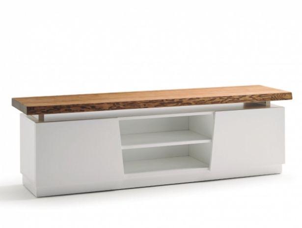 Oferta de Mueble TV de 2 puertas con tapa de madera maciza de fresno color blanco por 1101€
