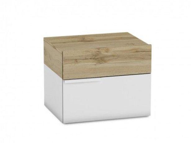 Oferta de Mesita 2 cajones color blanco y roble por 75€