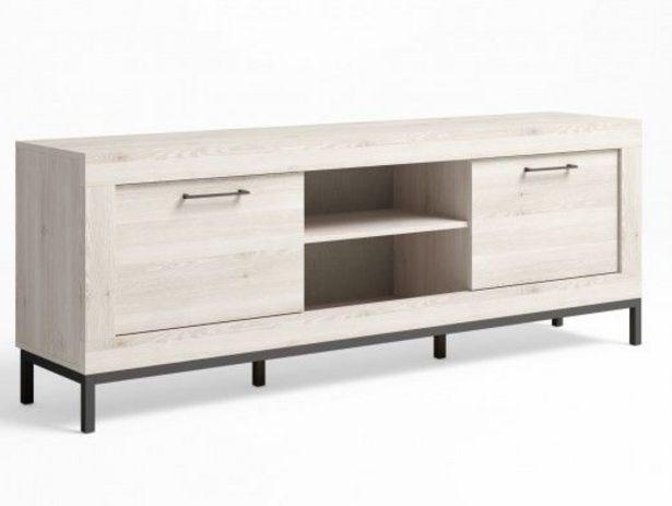 Oferta de Mueble tv 2 puertas y patas color blanco nordic-grafito por 209€