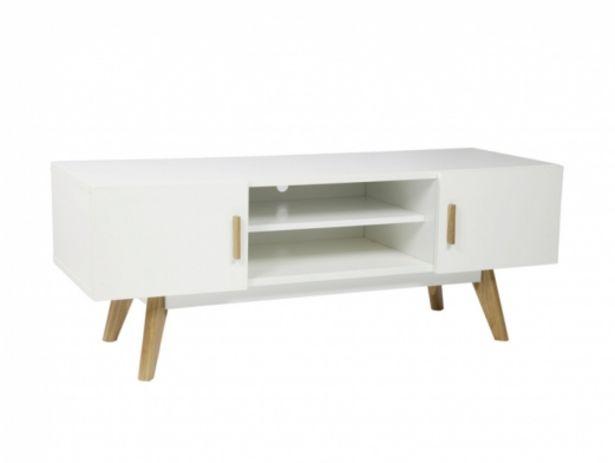 Oferta de Mueble TV de 2 puertas color blanco y madera natural por 290€