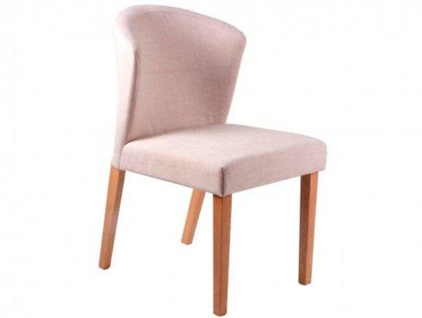 Oferta de Pack 2 sillas de comedor tapizado beige y patas madera por 303€