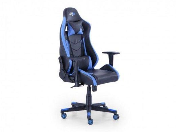 Oferta de Silla gaming reclinable y giratoria con ruedas antirayas negro - azul por 209€