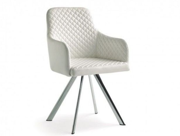 Oferta de Pack 2 sillas de comedor símil piel blanco y patas metálicas por 309€