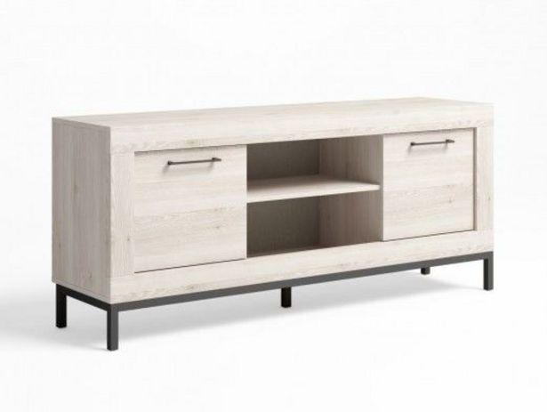 Oferta de Mueble tv 2 puertas y patas color blanco nordic-grafito por 201€