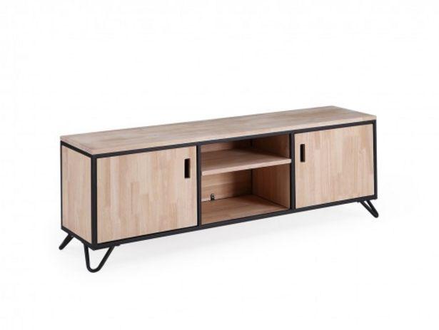 Oferta de Mueble TV diseño industrial de madera de roble nordish y metal negro con 2 puertas por 275€