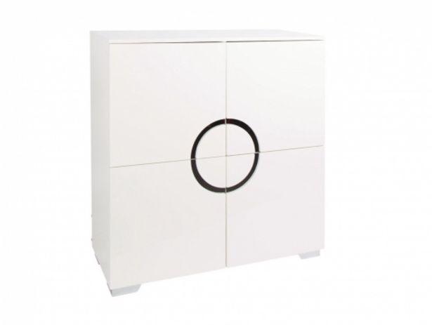 Oferta de Aparador alto de 4 puertas  color blanco alto brillo por 776€