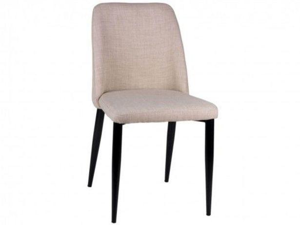 Oferta de Pack 2 sillas de comedor tapizado beige y patas metálicas por 234€