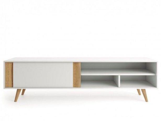 Oferta de Mueble TV con 1 puerta  color blanco y madera natural por 657€