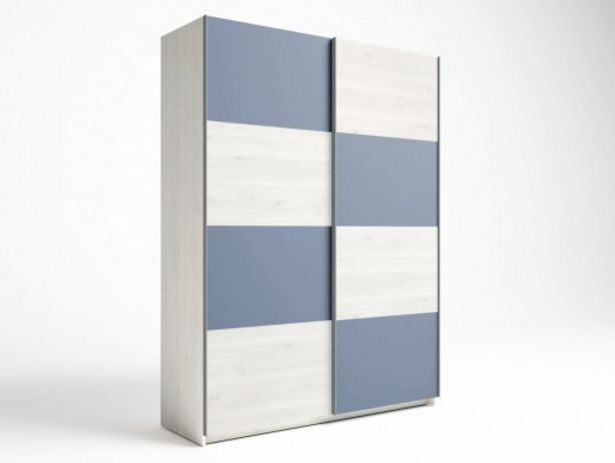 Oferta de Armario 2 puertas correderas color blanco nordic-azul talco por 445€