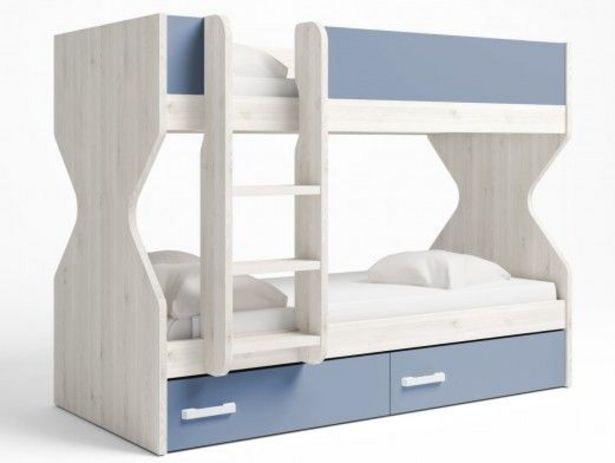 Oferta de Litera 2 camas con 2 cajones color blanco nordic-azul talco por 471€