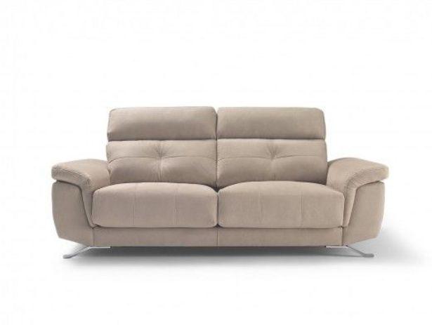 Oferta de Sofá 2 plazas con asientos deslizantes tapizado beige por 794€