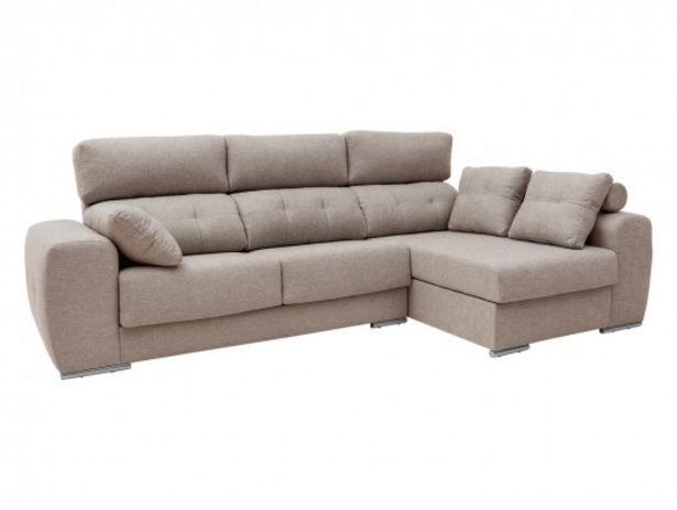 Oferta de Chaise longue derecho con asientos deslizantes tapizado beige por 929€