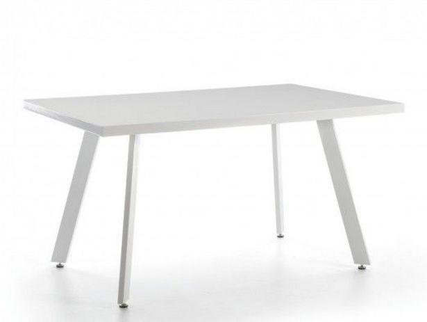 Oferta de Mesa de comedor rectangular fija metálica y tapa madera color blanco por 242€