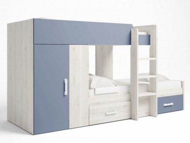 Oferta de Litera tren 2 camas con 2 cajones y 2 puertas color blanco nordic-azul talco por 616€