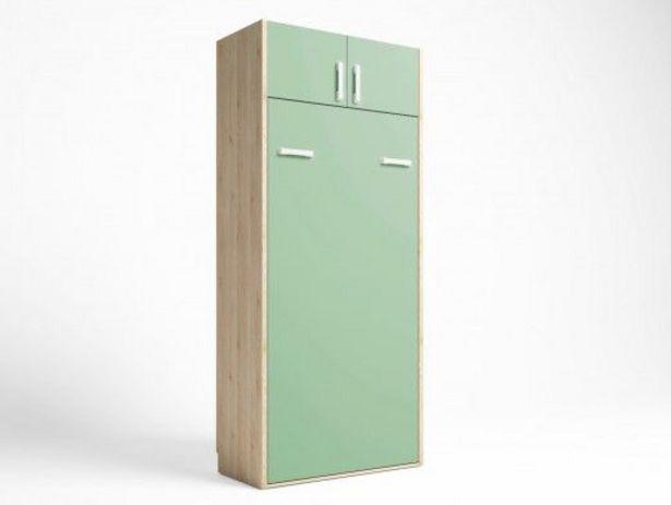 Oferta de Cama abatible vertical con altillo 2 puertas color pino danés-verde talco por 620€