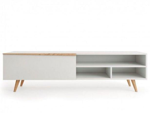 Oferta de Mueble TV de 1 puerta color blanco y madera natural por 605€