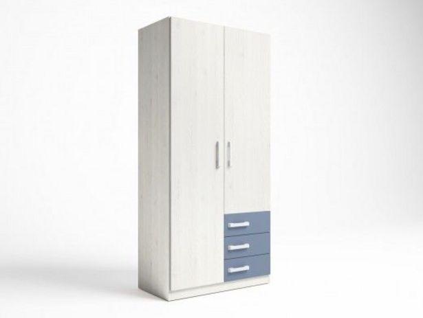 Oferta de Armario 2 puertas y 3 cajones color blanco nordic-azul talco por 232€