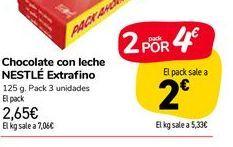 Oferta de Chocolate con leche Nestlé extrafino por 2,65€